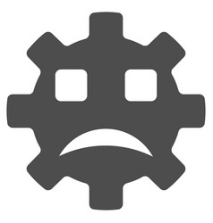 Sad service gear smiley flat icon vector