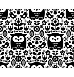 scandinavian seamless pattern nordic folk art vector image