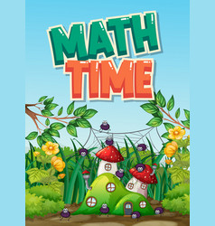 Scene background design with word math time in vector
