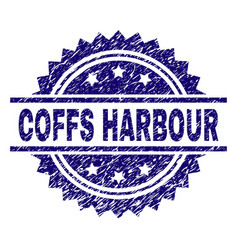 Scratched textured coffs harbour stamp seal vector