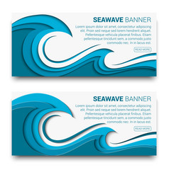 Sea wave banner with paper cut style effect vector