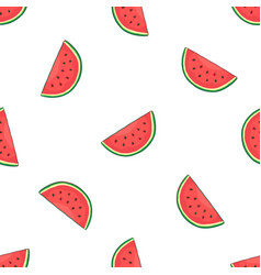 seamless pattern with falling watermelon slice vector image