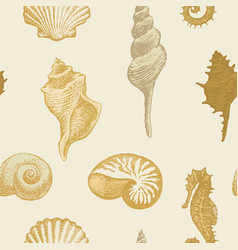 Seamless pattern with seashells various shapes vector