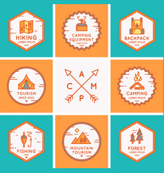 set logos and symbols for camping vector image