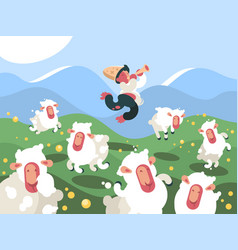 shepherd grazes herd of sheep vector image