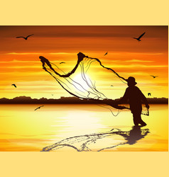 Silhouette man catching fish in twilight vector