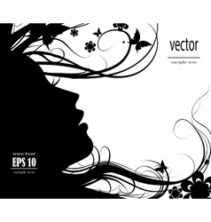 Silhouette of beautiful girl vector