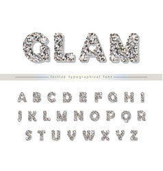 silver glitter font isolated on white modern vector image