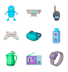 Simple life icons set cartoon style vector
