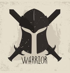 Spartan helmet with crossed swords and lettering vector