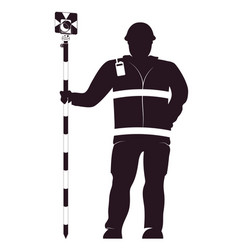 Surveyor in uniform with a working tool vector
