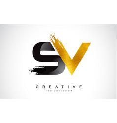 Sv letter design with brush stroke and modern 3d vector