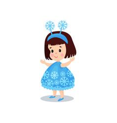 sweet brunette little girl in the costume of vector image