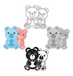 Teddy bears icon in cartoonblack style isolated vector