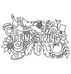 Thanksgiving hand draw doodle art vector image