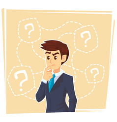 thinking businessman standing under question marks vector image