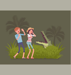 Tourists lost in wild nature vector