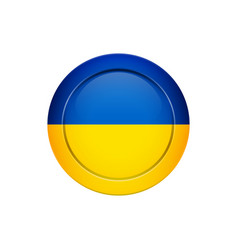 ukrainian flag on the round button vector image