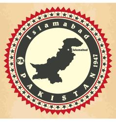 Vintage label-sticker cards of Pakistan vector image