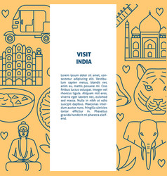 visit india concept banner template in line style vector image