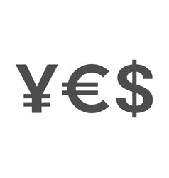 word yes of currency symbols - yen euro dollar vector image