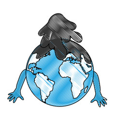 World planet with oil comic character vector