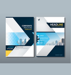 blue yellow flyer design template leaflet cover vector image