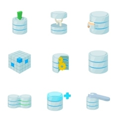 Data protection icons set cartoon style vector