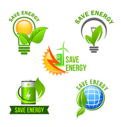 green eco power and energy saving symbol set vector image