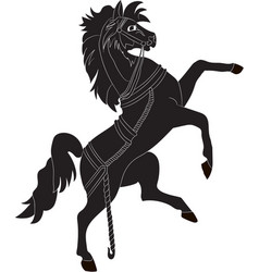silhouette of a rearing horse vector image vector image