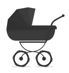 stroller on white black and white silhouette for vector image vector image