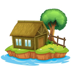 A house and tree on island vector image vector image