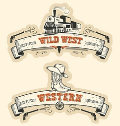 Vintage western and wild west labels isolated vector