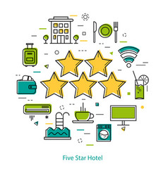 five-star hotel - line concept vector image
