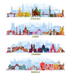 cityscapes copenhagen lisbon edinburgh brussels vector image vector image