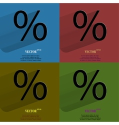 Color set percent Flat modern web button with long vector image