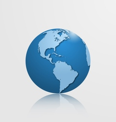detailed globe with north and south america vector image vector image