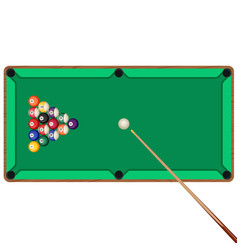 green billiard table with cue and balls in vector image