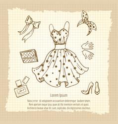 retro woman fashion look vector image