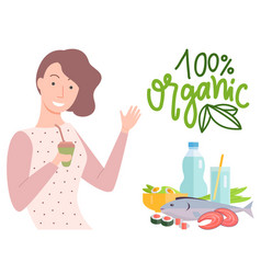 100 one hundred percent organic girl with juice vector