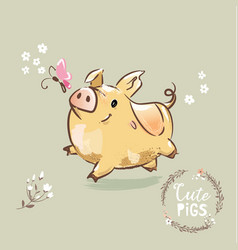 2019 year symbol pig cute new year sign vector image