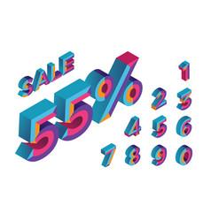 55 percent sale 0 1 2 3 4 5 6 7 8 9 vector image