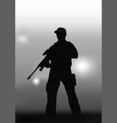 a man with a sniper rifle on a dark background vector image
