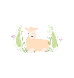 adorable little lamb lying on beautiful spring vector image