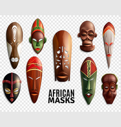 African masks transparent icon set vector