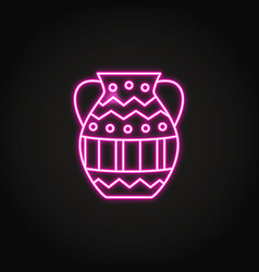 ancient vase icon in glowing neon style vector image