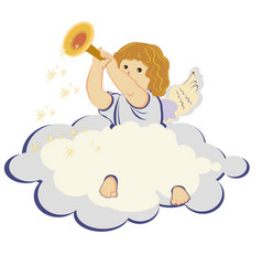 Angel on the cloud vector