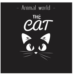 animal world the cat black cat background i vector image