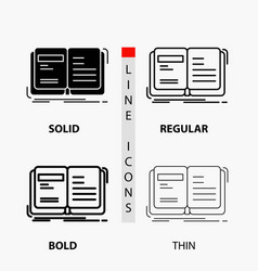 Author book open story storytelling icon in thin vector