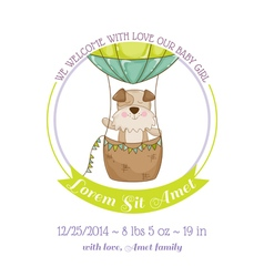 Baby Shower Card - Baby Dog and Air balloon vector image